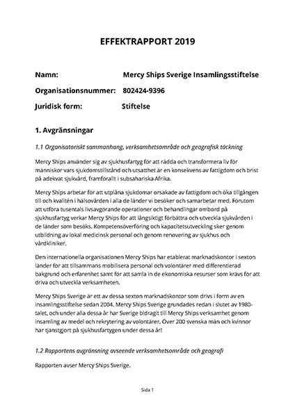 Mercy Ships Sverige Insamlingsstiftelse Effektrapport 2019